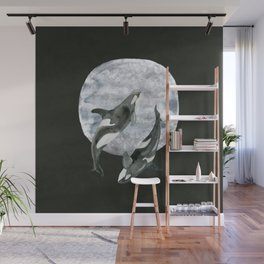 orcas' moon dance Wall Mural