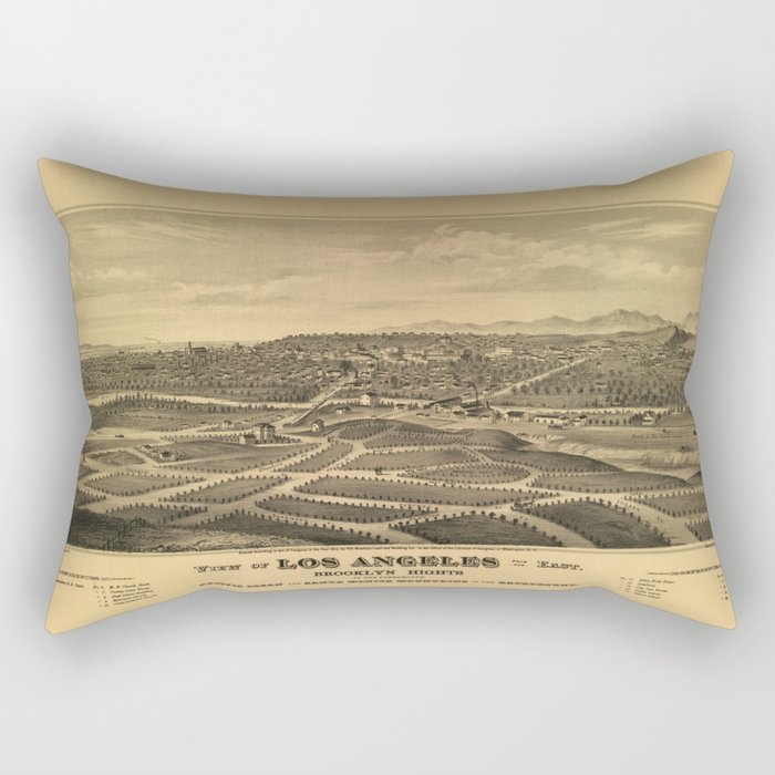 Aerial View of Los Angeles, California (1877) Rectangular Pillow
