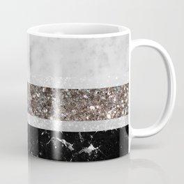 White and Black Marble Silver Glitter Stripe Glam #1 #minimal #decor #art #society6 Coffee Mug