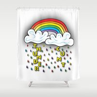 cunt Shower Curtains featuring Cunt Storm by The Weirdoll Effect