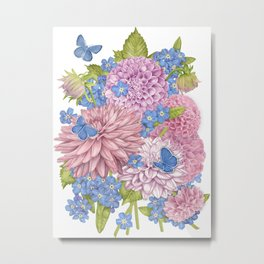 Dahlias and Forget Me Nots Metal Print