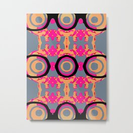 psychedelic graffiti skull head in pink and orange with grey background Metal Print
