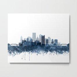 Pittsburgh City Skyline Watercolor Blue by Zouzounio Art Metal Print