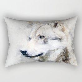 Watercolour grey wolf portrait Rectangular Pillow