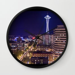 Seattle Night View Wall Clock