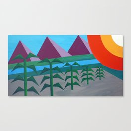 Mountains and Corn Graphic Canvas Print
