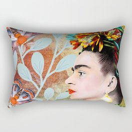 Frida Khalo portarait with butterflies Rectangular Pillow