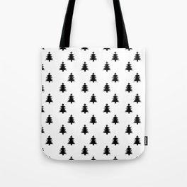 Black and White Christmas Trees Tote Bag