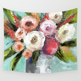 Peach and White Roses Wall Tapestry