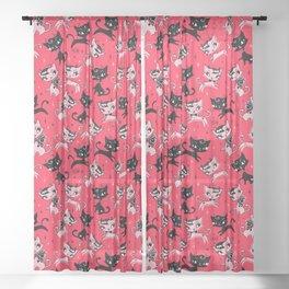 Devil Kitties Red Sheer Curtain