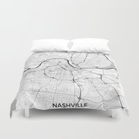 nashville Duvet Covers featuring Nashville Map Gray by City Art Posters
