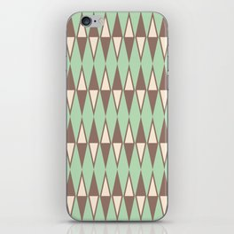 Mid Century Modern Diamond Pattern Brown Green 231 iPhone Skin