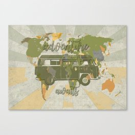 world map-adventure awaits Canvas Print