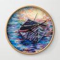 Wooden Boat at Sunrise - original oil painting with palette knife #society6 #decor #boat by olenaart