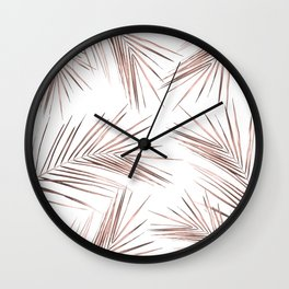 Rose Gold Palm Leaves 1 Wall Clock