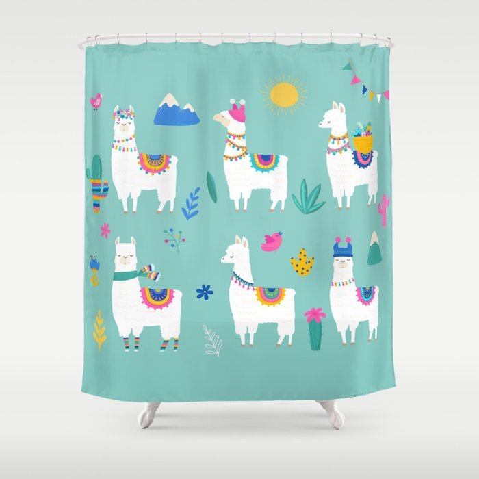 Hola Llama Shower Curtain