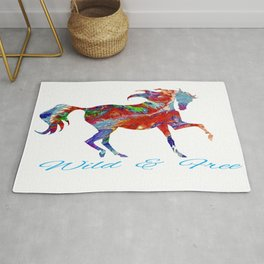 OLena Art Colorful Horse Design Wild and Free Rug