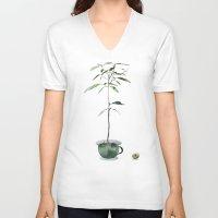 avocado V-neck T-shirts featuring Avocado Tree by J Arell