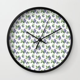 Watercolour blueberry pattern #s1 Wall Clock