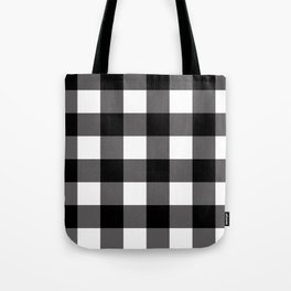 Black & White Buffalo Plaid Tote Bag