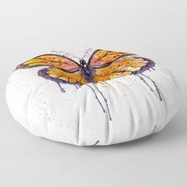 Monarch Butterfly watercolor Floor Pillow