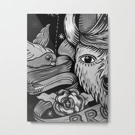 Yak and Bird Graffiti (Black and White) Metal Print