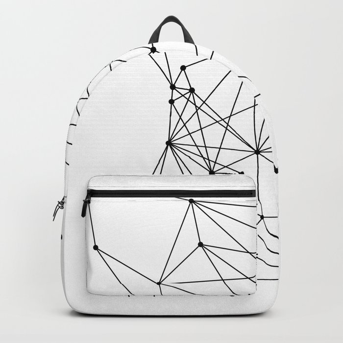 White Geometric Dots and Lines Backpack