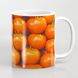 Delicious red tomatoes. Vintage aerial view of tomatoes. Summer tray market agriculture farm full of organic vegetables. Retro style Coffee Mug