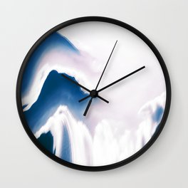 Distorted Blue Mountains I Wall Clock