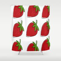 strawberry Shower Curtains featuring StrawBerry by neken
