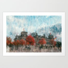 Bundestag, Reichstag Berlin Mitte -  impressionism style print Illustration  / abstract landmark Art Print