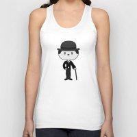 chaplin Tank Tops featuring Charlie Chaplin by Sombras Blancas Art & Design