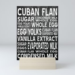 Cuban Flan Word Food Art Poster (Black) Mini Art Print