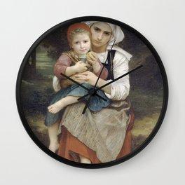 Adolphe William Bouguereau - Frere Et Soeur Bretons Wall Clock