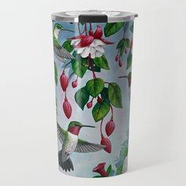 Hummingbirds in Fuchsia Flower Garden Travel Mug