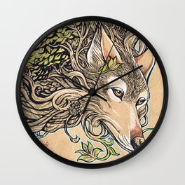 Dog of the Mountain - Honshu Wolf Wall Clock