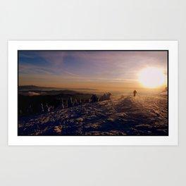 Sunset Skier  Art Print