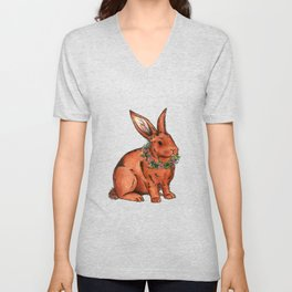 Flower Bunny Rabbit Unisex V-Neck