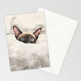 Waffles the snow cat Stationery Cards