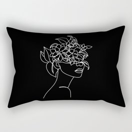 The Girl with the Flowers: Black & White Edition Rectangular Pillow