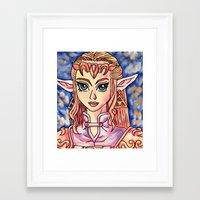 legend of zelda Framed Art Prints featuring Zelda by MSG Imaging