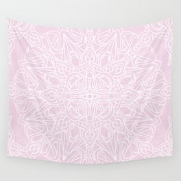 White Mandala on Pastel Pink Linen Textured Background Wall Tapestry