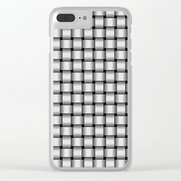 Small Pale Gray Weave Clear iPhone Case