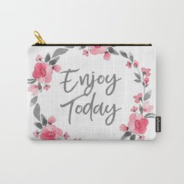 Enjoy Today - Pink and Grey Watecolor Floral Wreath Carry-All Pouch