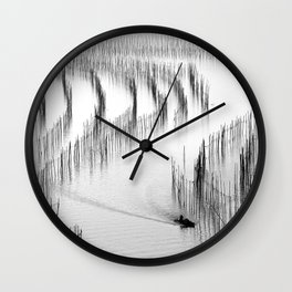 Fishing and Bamboos Wall Clock