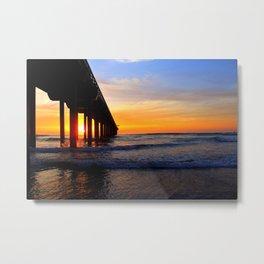 Scripps Pier - Sunset Splash Metal Print