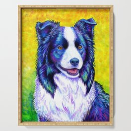 Colorful Border Collie Dog Serving Tray