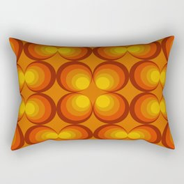 70s Circle Design - Orange Background Rectangular Pillow