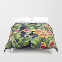kindle Duvet Covers featuring Tiki Talk by Vikki Salmela