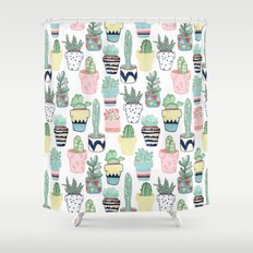 Cute Cacti in Pots Shower Curtain